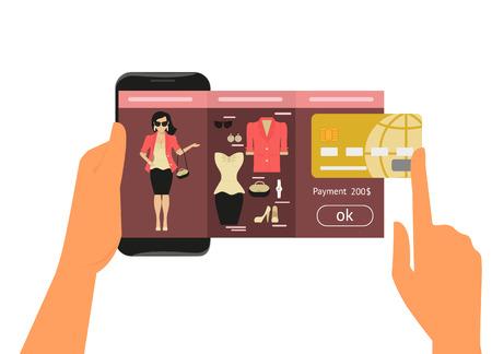 Mobiele app voor vrouwen online winkelen van mode jurk Stockfoto - 33452884