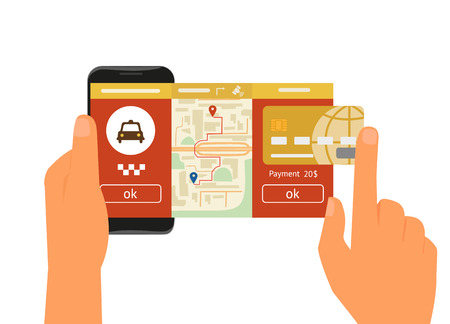 online book: Vector illustration of mobile app for booking taxi
