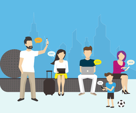 leans: Group of people using smartphones, laptops and tablet pc Illustration