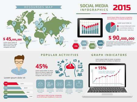 Template infographics elements for social media presentation with tablet pc and laptop. Text outlined. Vector
