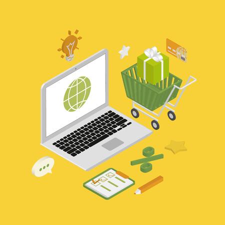 using laptop: Illustrazione isometrica di shopping online con laptop Vettoriali