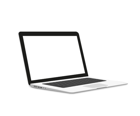 Isometric illustration of laptop isolated on white Vettoriali