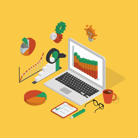 Isometric illustration of analytics process with laptop on yellow background Vector