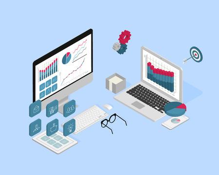 articulos oficina: Ilustración isométrica del proceso de análisis con ordenador, portátil, Tablet PC y el teléfono inteligente
