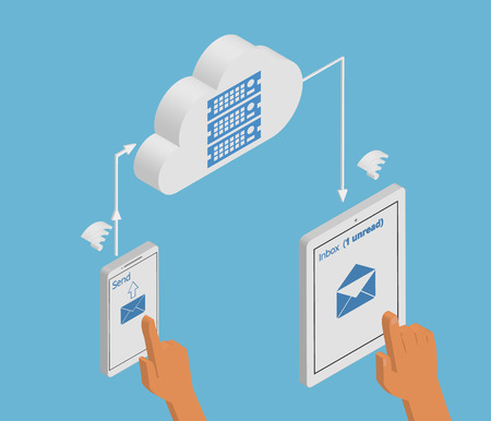 isometry: Isometric illustration of email synchronization of smartphone and tablet pc via cloud server. Illustration