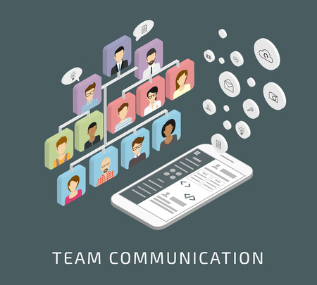 smartphone business: Isometric illustration of business team communication via smartphone app