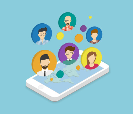isometry: Isometric illustration of people communication via smartphone app Illustration