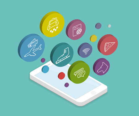 smartphone apps: Isometric illustration of mobile lifestyle apps for smartphone Illustration