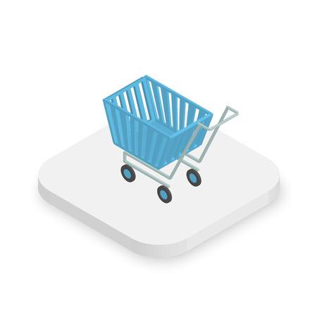 shopping cart isolated: Isometric white icon of blue shopping cart
