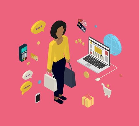 shopping bag icon: Isometric illustration of woman doing shopping online