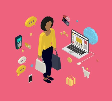 isometry: Isometric illustration of woman doing shopping online