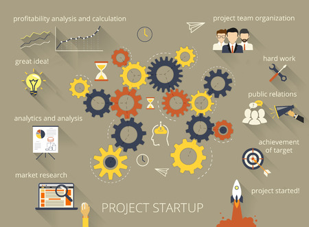 pr: Infographic illustration of project startup process with gearing Illustration