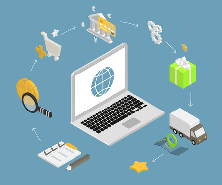 Isometric illustration of online shopping with laptop and icons