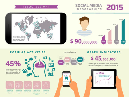 Business graph: Template infographics elements for social media presentation with tablet pc and smartphone. Text outlined. Free font Russo One and Open Sans