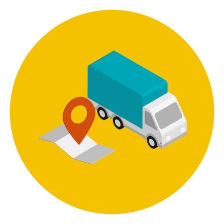 Delivery car with route map. Isometric view in yellow circle