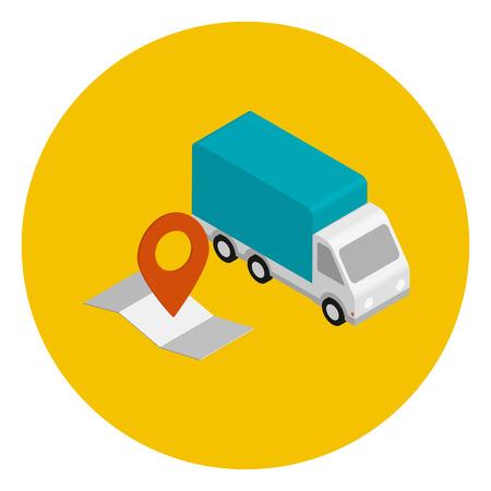 voiture de livraison avec carte d'itinéraire. Vue isométrique en cercle jaune