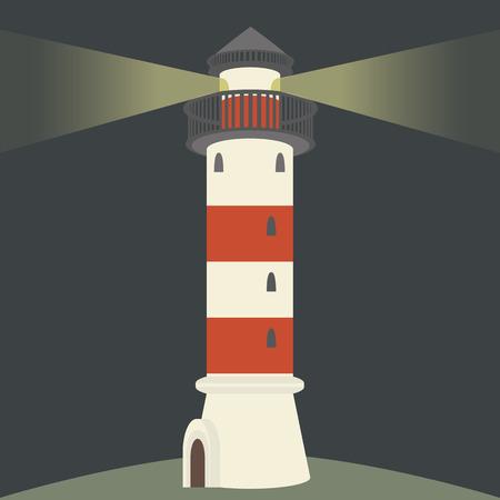 lighthouse at night: Faro individual por la noche. Ilustraci�n vectorial Flat