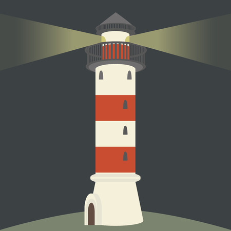 10eps: Single lighthouse at night. Flat vector illustration