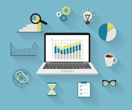 Flat modern illustration of analytics process with laptop and symbols on long shadows Illustration