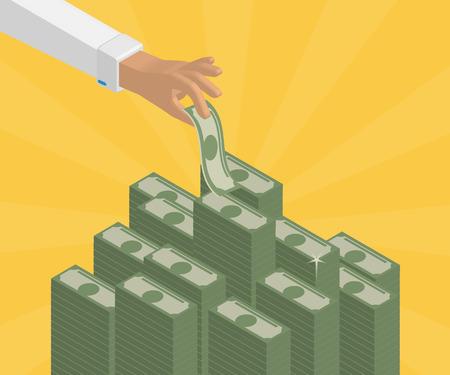 Human hand takes money from bank deposit. Isometric illustration