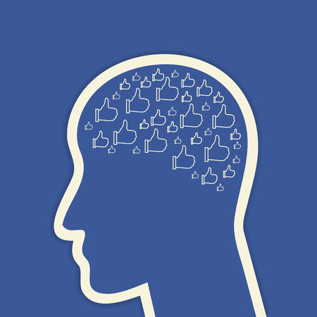 facebook: Human head with brain which consists of social networks