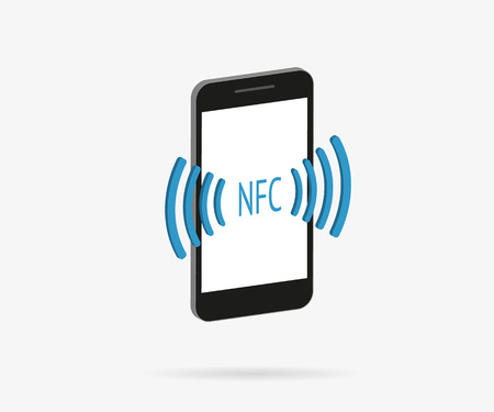 nfc: Isometric illustration of smartphone with nfc function