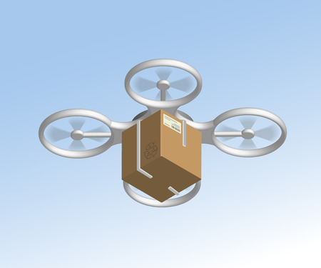 remote view: Remote air drone with a box flying in the sky. Isometric view