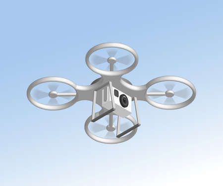 drone: Remote air drone with camera. Isomertic view