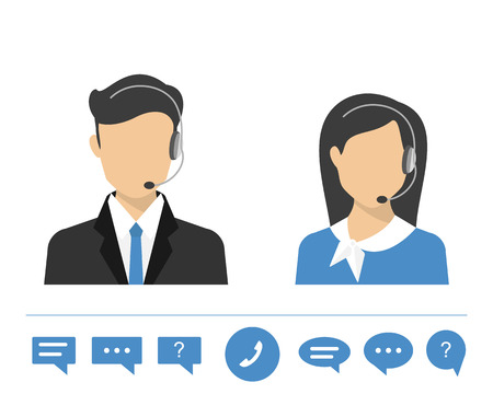 Female call centre operator with headset. Flat moderm style  イラスト・ベクター素材