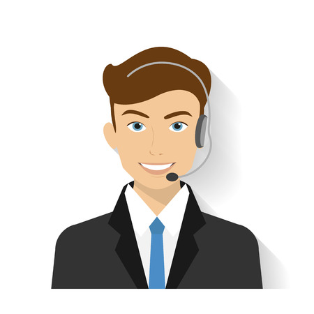 Male call centre operator with headset. Flat moderm style