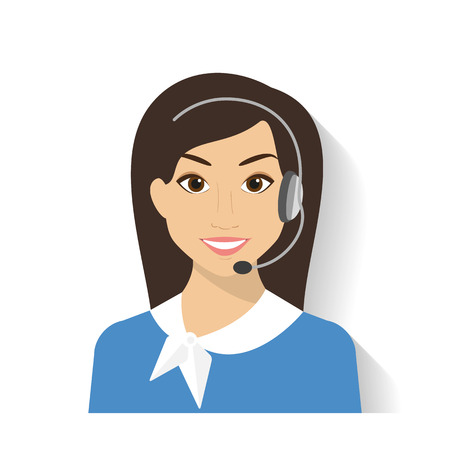 Mujer operador del centro de llamadas con el auricular. Estilo moderm plana Foto de archivo - 34179151