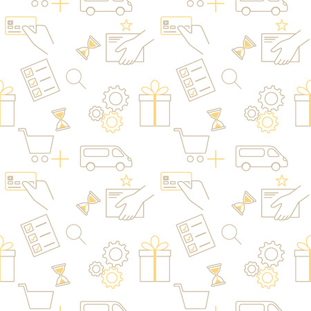 Online shopping seamless contour vector pattern on white Vector