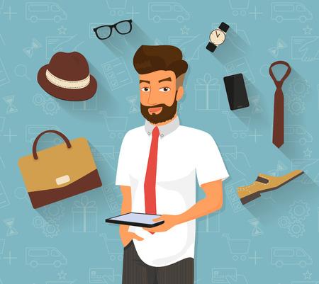 comprando zapatos: Hombre hermoso que hace compras en línea con tablet pc Vectores