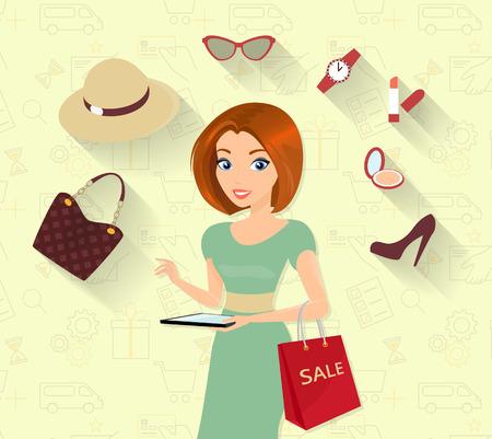 vrouw met tablet: Vrouw die online winkelen met behulp van tablet pc
