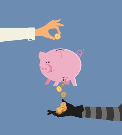 Vector illustratie van geld stelen van bankdeposito