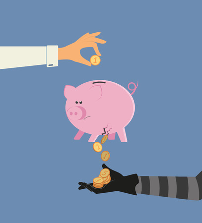 bank deposit: Vector illustration of money stealing from bank deposit