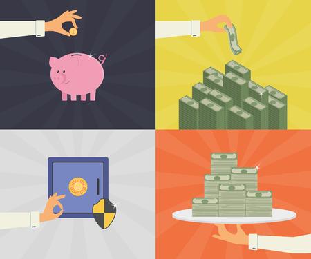 symbol hand: Vector Flach Illustrationen Set von Geld sparen, Bankeinlagen und sicheren Schutz