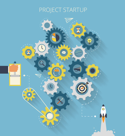 Infographic illustration of project startup process with gearing Vettoriali