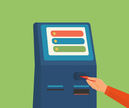 Human hand with credit card getting access to ATM machine