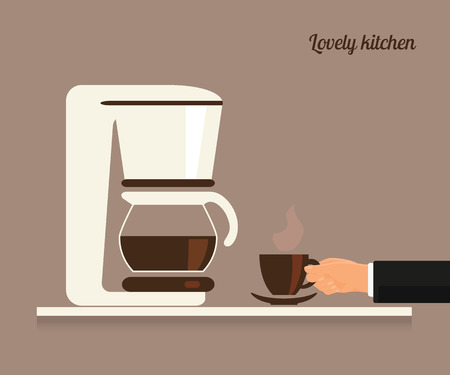 coffee machine: Human hand holds a cup of coffee near white coffee machine. Flat illustration Illustration