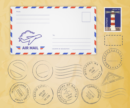 mail: Retro postage stamps collection with envelope on textured paper