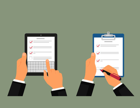 using tablet: Businessman using tablet pc and notepad with task list Illustration