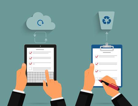 Uomo d'affari con tablet pc e blocco note con elenco delle attività. Concetto di cloud sincronizzazione Vettoriali