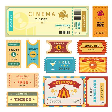 Entradas Retro establecido. Ilustración vectorial Temlate para el cine y otros eventos. Texto esbozado Ilustración de vector
