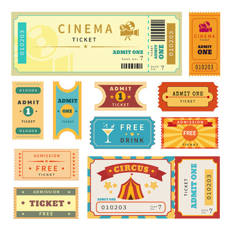 Retro tickets set. Temlate vector illustration for cinema and other events. Text outlined Vector