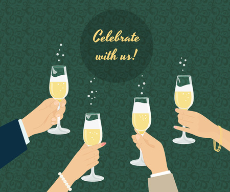 toasting: Celebrating poster with group of people toasting with champagne. Background with seamless pattern Illustration