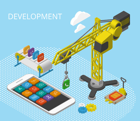 mobile app: Mobile app development isometric illustration with smartphine, icons, crane and conveyor