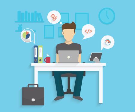 El hombre está trabajando con el ordenador portátil. Ilustración moderna plana del proceso de trabajo