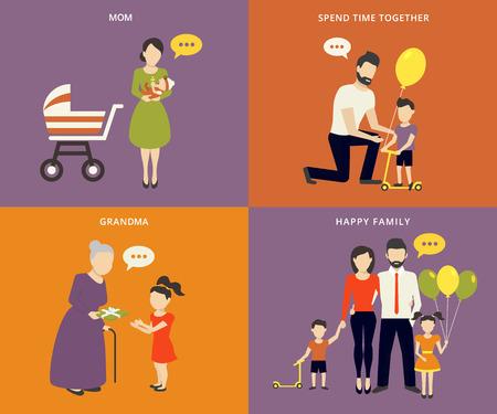 abuela: Familia con gente niños niños concepto iconos planos conjunto de crianza de los hijos, el gasto de tiempo y ser una abuela