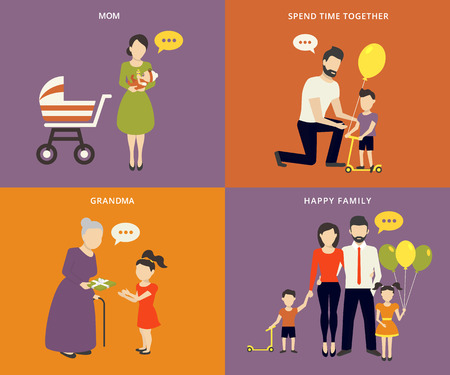 Family with children kids people concept flat icons set of parenting, time spending and being a grandmother